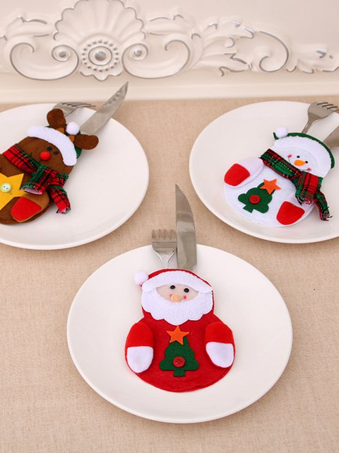 Santa Clothes Style Christmas Tableware Knife Fork Cover Suit Decoration