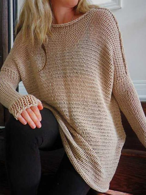 Cotton-blend Crew Neck Simple Long Sleeve Solid Sweater