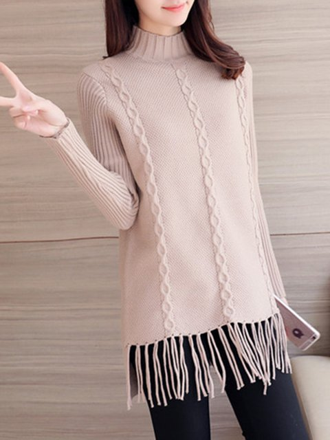 Simple Long Sleeve Knitted Acrylic Sweater