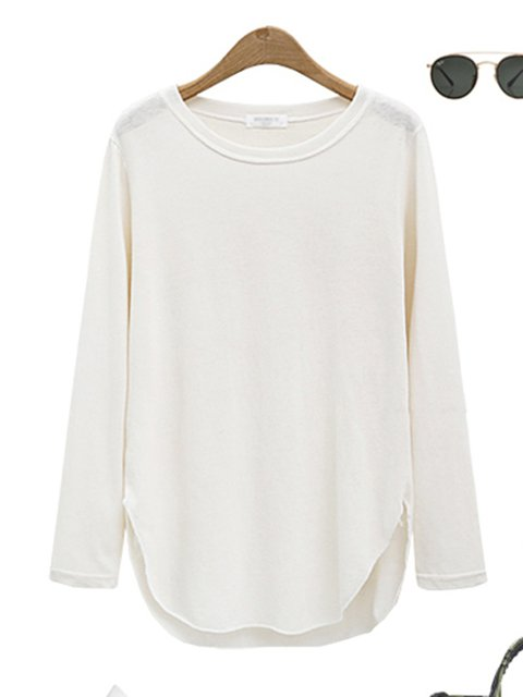Shirt Long T Sleeve Simple Solid Cotton blend SPw6q8