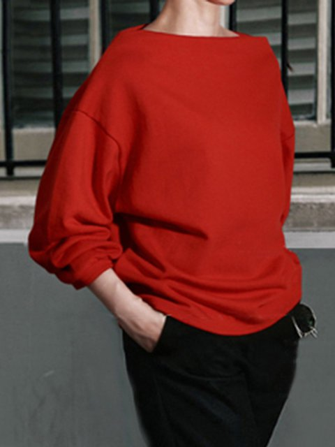 Slash Neck Long Sleeve Simple Solid Polyester Sweatshirt
