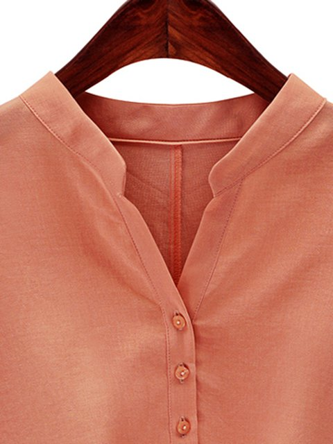 Solid 4 Sleeve Casual blend Cotton 3 Blouse WxnEEvCwrq