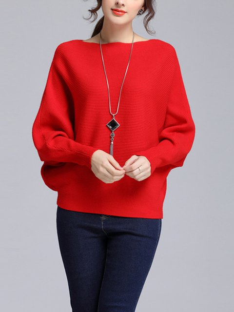 Simple Knitted Batwing Sweater Batwing Knitted Solid wxxRHY84