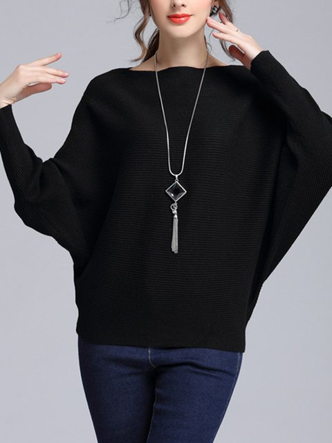 Knitted Batwing Simple Solid Sweater