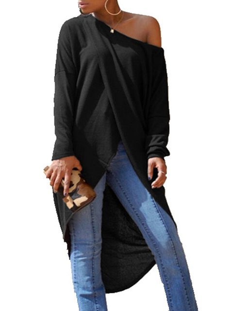 A Shoulder Asymmetric Sexy Blouse Solid One line Winter drpUqp