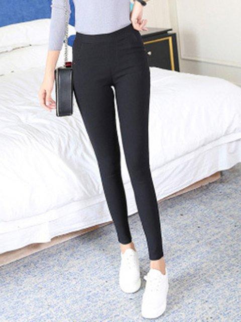 Pockets Tencel Casual Solid Pants
