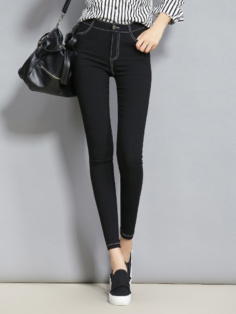 Black Solid Spandex Simple Pants