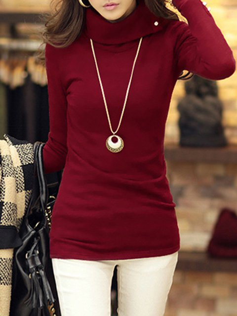 Turtleneck Polyester Simple Long Sleeve Knitted Sweater