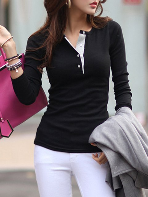 Simple Cotton-blend Long Sleeve T-Shirt
