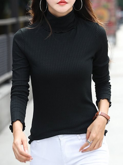 Long Sleeve Solid Simple Cotton-blend Sweater