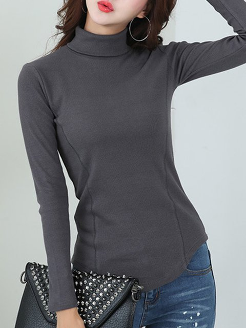 Long Sleeve Turtleneck Solid T-Shirt