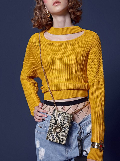 Knitted Simple Solid Knitted Long Sleeve Sweater