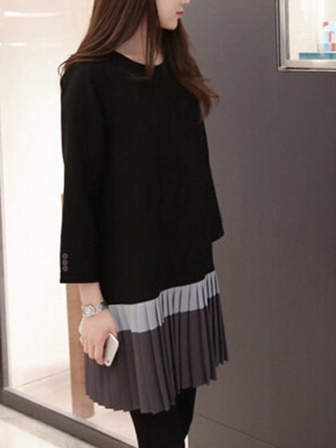 Black Women Daily Long Sleeve Cotton Casual Paneled Casual Dress