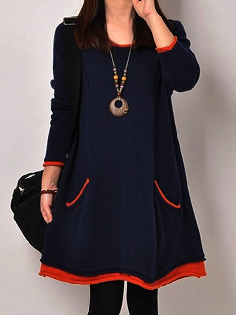 Women Daytime Long Sleeve Cotton Paneled Casual Dress
