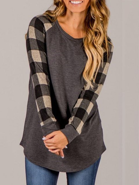 Checkered Shirt Crew Simple T Paneled Plaid Neck nq8xHUUP0w