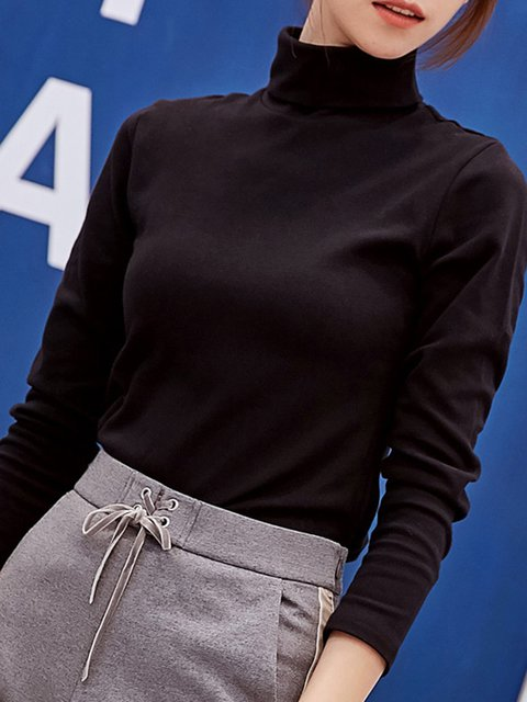 Cotton Long Turtleneck Solid Simple blend Sleeve Shirt T FUnUOr