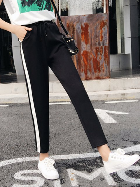 Black Printed Casual Pants