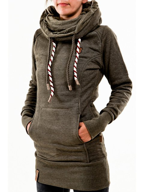 Cotton-blend Cowl Neck Solid Long Sleeve Sweatshirt