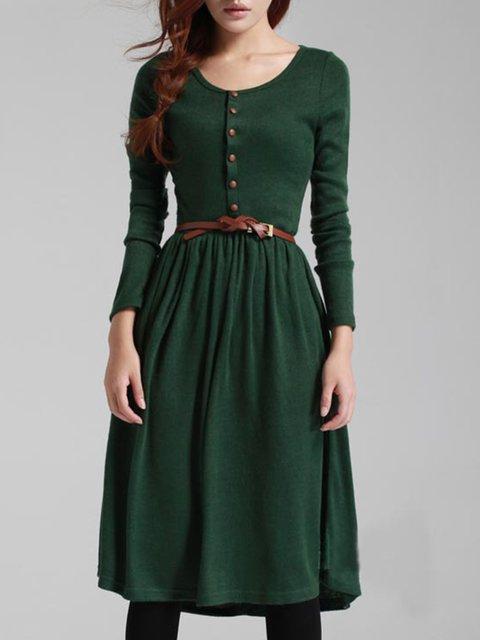 A-line Women Daily Linen Long Sleeve Buttoned Plain Fall Dress