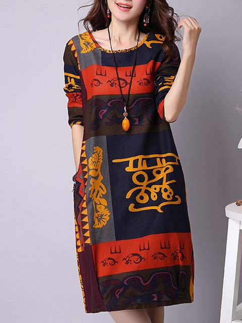 Red A-line Women Daily Long Sleeve Casual Printed Casual Dress