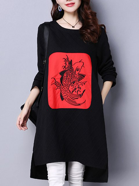 High Low Women Daily Casual Cotton Tribal Casual Dress