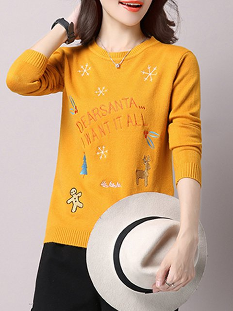 Solid Cute Printed Long Sleeve Crew Neck Christmas Sweater