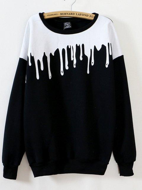 Simple Cotton-blend Crew Neck Solid Sweatshirt