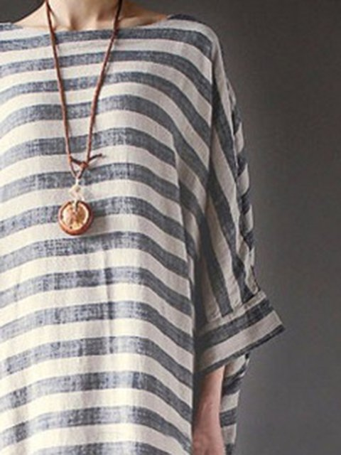 Women Dress Sheath Sleeve Long Casual Striped Gray Casual azAqwfxf