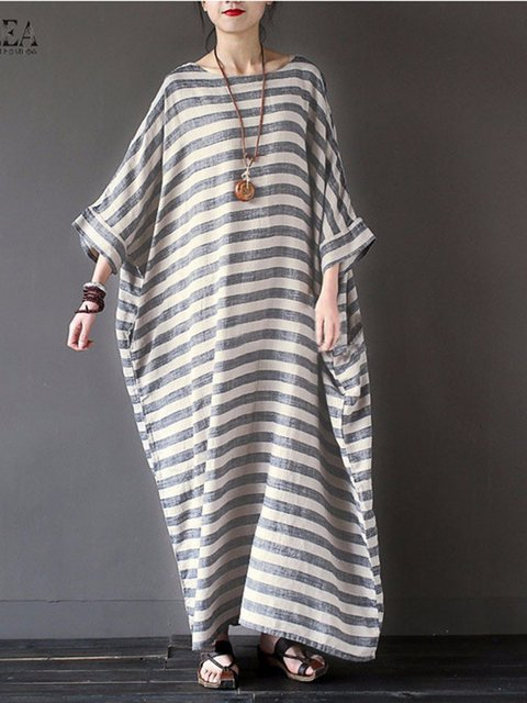 Gray Sheath Women Casual Long Sleeve  Striped Casual Dress