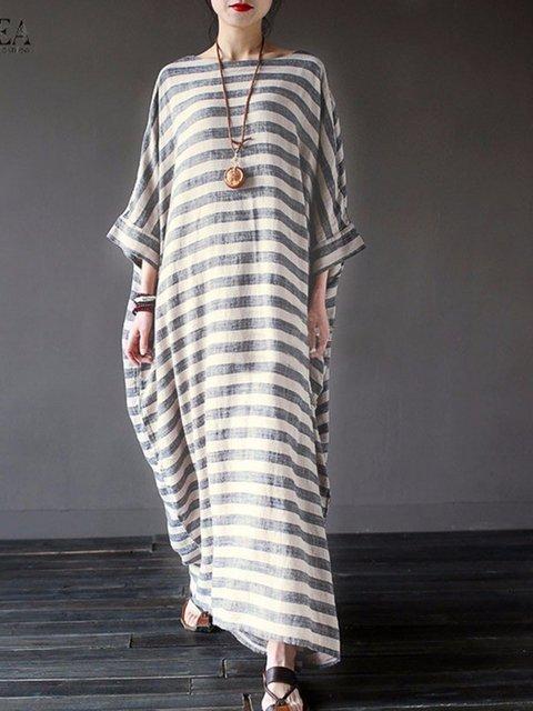 Women Dress Sheath Sleeve Long Casual Striped Gray Casual azAqwfxf
