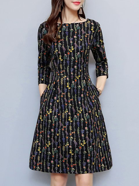 Black  Women Daily 3/4 Sleeve Casual Floral-print Floral Elegant Dress