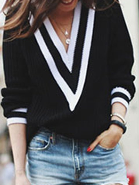 Long Sleeve Cotton-blend Simple Sweater