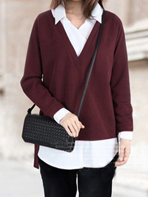 Simple Shirt Collar Long Sleeve Knitted Sweater