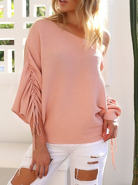 Shoulder Sleeve Long Solid Knitted Sweater One RIfw7fpqx