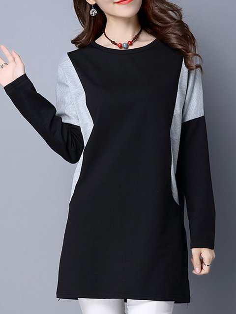Women Casual Solid  Winter  Crew Neck Casual Dress