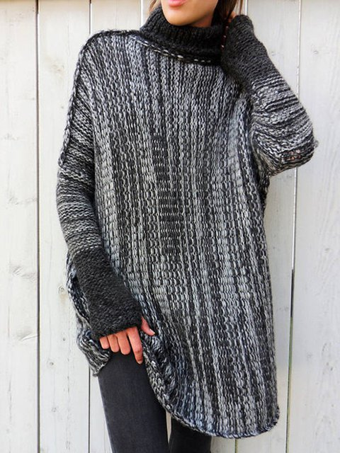 Knitted Simple Long Sleeve Sweater