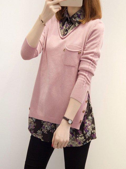 Long Sleeve Shirt Collar Simple Sweater