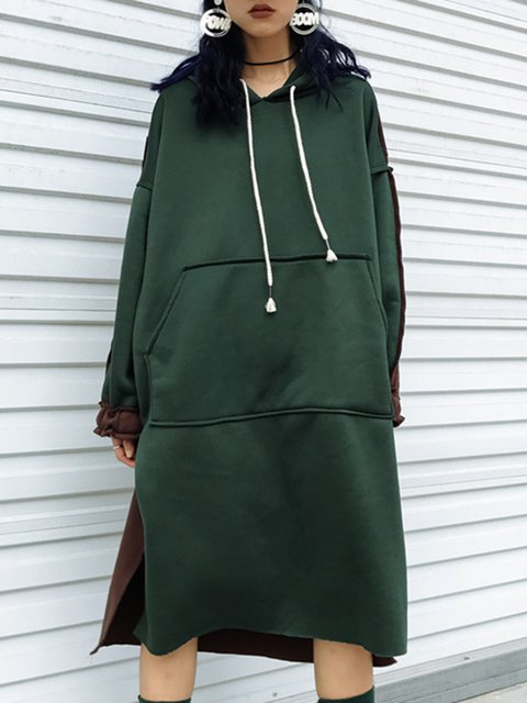 Hoodie  High Low Women Daily Casual Long Sleeve Paneled Casual Dress