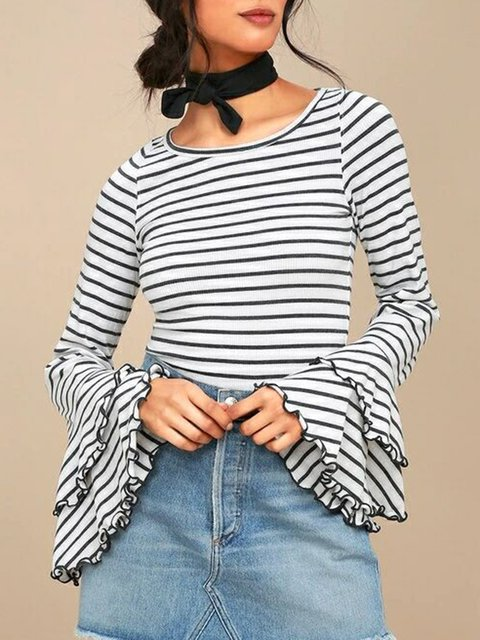 White Stripes Bell Sleeve Crew Neck Printed T-Shirt
