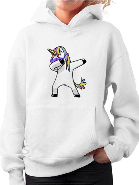 Long Sleeve Printed Cotton-blend Hoodie