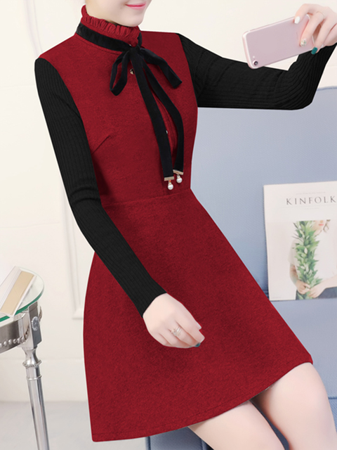Long Ruffled Knitted Sleeve Casual Dresses r8v4rycPqH