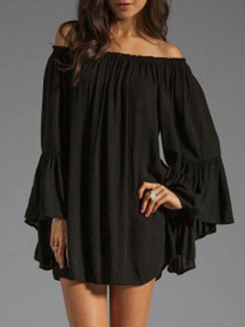 Elegant Solid Cotton-blend Off Shoulder Bell Sleeve Tunic Top