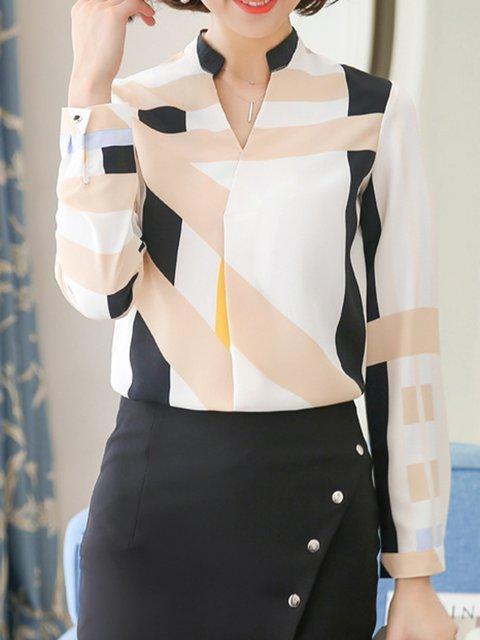 Long Sleeve Stand Collar Elegant Blouse