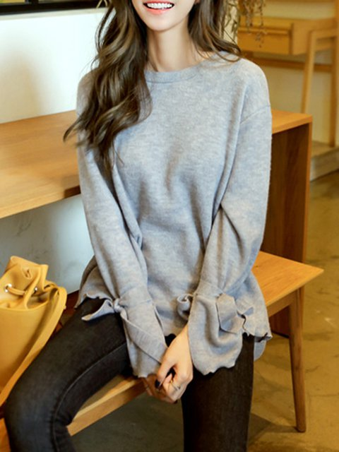 Crew Neck Bell Sleeve Cotton-blend Solid Sweater