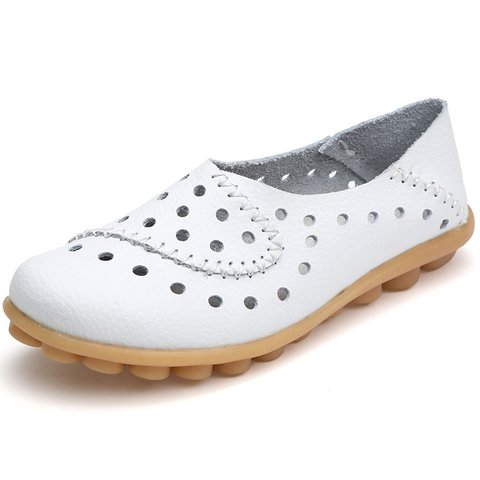 Soft Slip Leather Hollow-out Flats