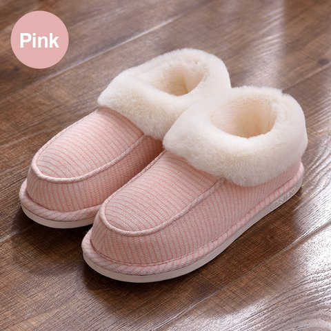 Stripes Fur Lined Warm Slippers