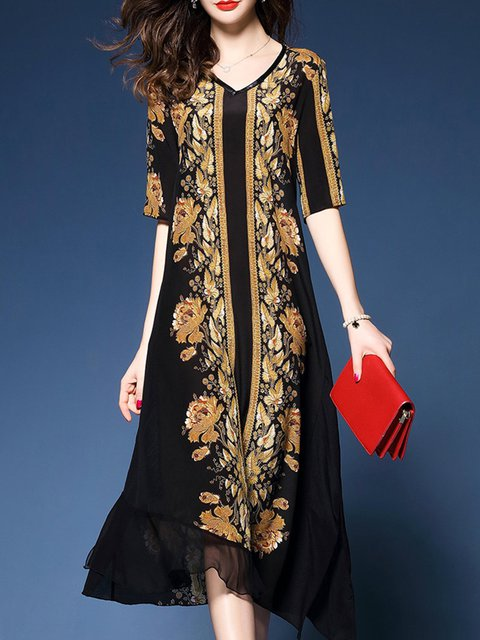V neck Black Shift Women Prom Silk Long Sleeve Floral Elegant Dress