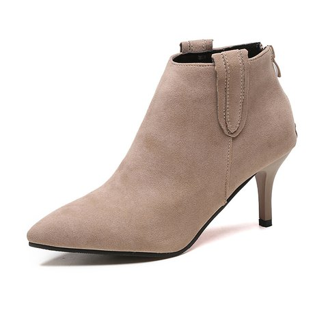 Elegant Zipper Suede High Heel Boots