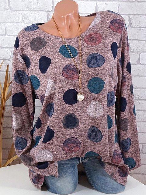 Polka Dots Long Sleeve Casual T-Shirt