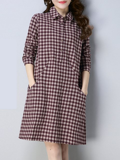 Shirt Collar  Shift Women Daily Casual Long Sleeve Checkered/Plaid Casual Dress